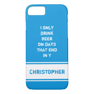 Personalized name Blue beer quote iPhone 8/7 Case