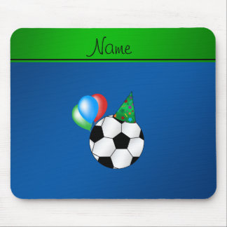 Personalized name blue birthday soccer mouse pads