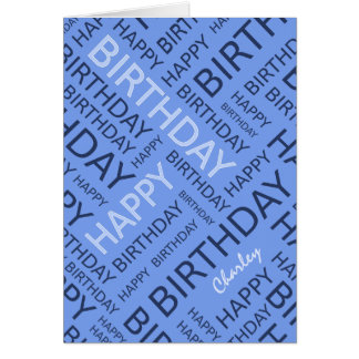 Personalized name blue Birthday typography Card