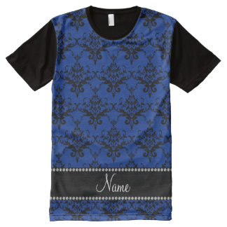 Personalized name blue black damask All-Over print T-Shirt