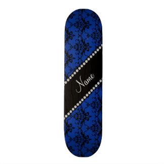 Personalized name blue black damask skate deck