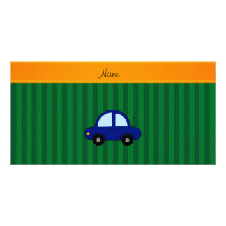 Personalized name blue car green stripes customised photo card