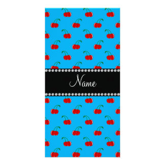 Personalized name blue cherry pattern photo greeting card