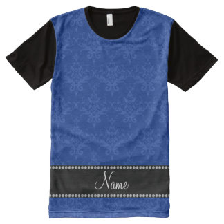 Personalized name Blue damask All-Over Print T-Shirt