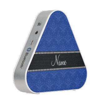 Personalized name Blue damask Bluetooth Speaker