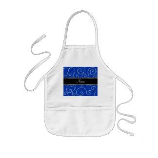 Personalized name blue diamond swirls apron