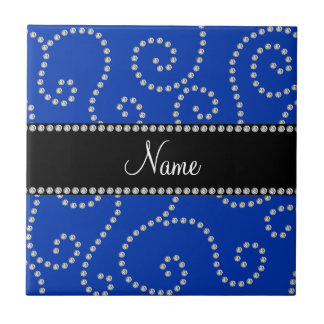 Personalized name blue diamond swirls ceramic tiles
