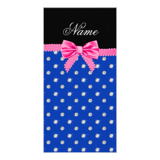 Personalized name blue diamonds pink bling bow custom photo card