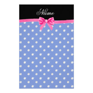 Personalized name blue diamonds pink bling bow stationery paper