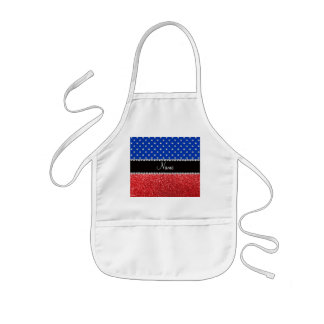 Personalized name blue diamonds red glitter kids' apron