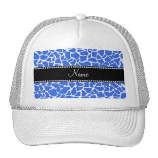 Personalized name blue giraffe pattern mesh hat