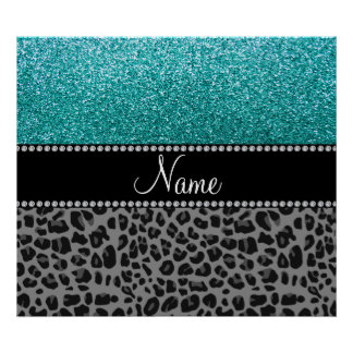 Personalized name blue glitter black leopard posters