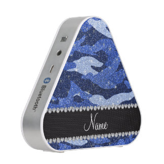 Personalized name blue glitter camouflage bluetooth speaker
