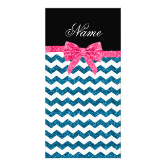 Personalized name blue glitter chevrons bow customized photo card