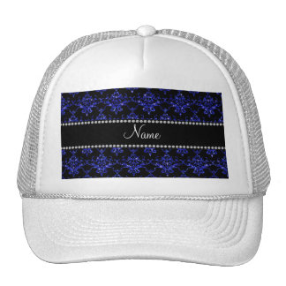 Personalized name blue glitter damask trucker hat