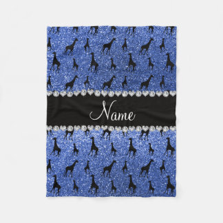 Personalized name blue glitter giraffes fleece blanket