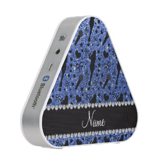 Personalized name blue glitter singer bluetooth speaker