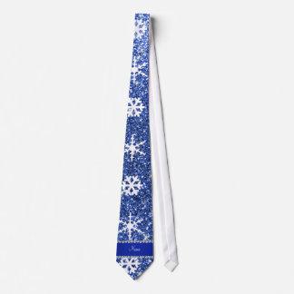 Personalized name blue glitter white snowflakes tie