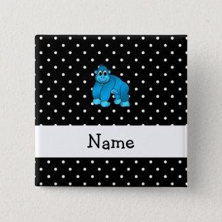 Personalized name blue gorilla black dots 15 cm square badge