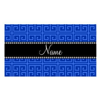 Personalized name blue greek key pattern business card