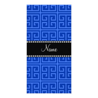 Personalized name blue greek key pattern personalised photo card