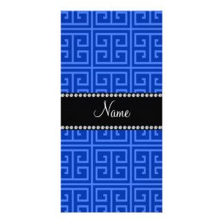 Personalized name blue greek key pattern personalised photo card
