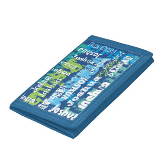 Personalized Name Blue Green Subway Art Tri-fold Wallets