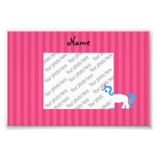 Personalized name blue hair unicorn pink stripe photo