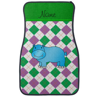Personalized name blue hippo purple green argyle car mat