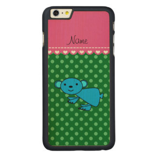 Personalized name blue koala green polka dots carved® maple iPhone 6 plus case