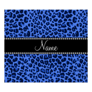 Personalized name blue leopard print