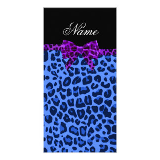 Personalized name blue leopard print purple bow picture card
