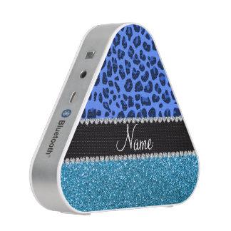 Personalized name blue leopard sky blue glitter speaker