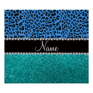Personalized name blue leopard turquoise glitter posters
