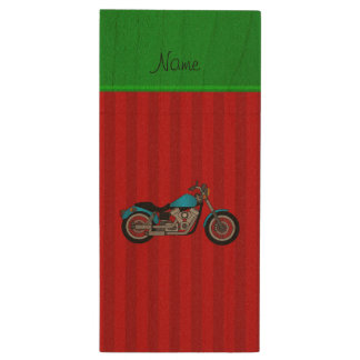 Personalized name blue motorcycle red stripes wood USB 2.0 flash drive