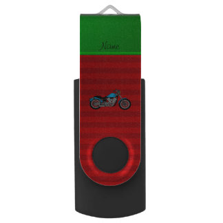 Personalized name blue motorcycle red stripes swivel USB 2.0 flash drive