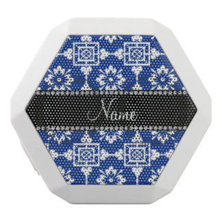Personalized name blue ornamental moroccan white boombot rex bluetooth speaker