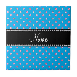 Personalized name blue pink diamonds tile
