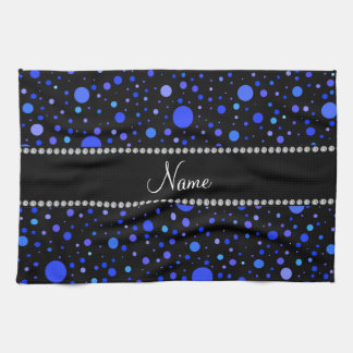 Personalized name blue polka dots tea towel