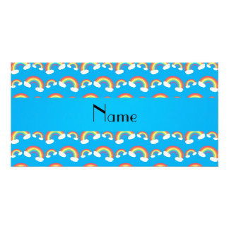 Personalized name blue rainbows pattern photo card template