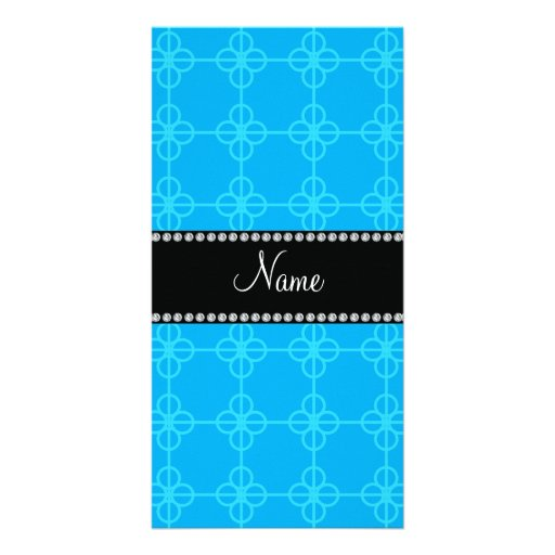 Personalized name blue retro circles picture card