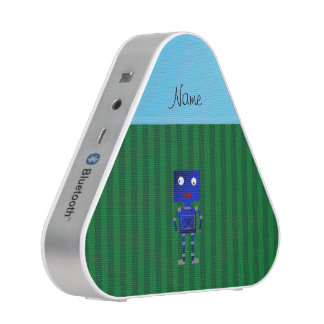 Personalized name blue robot green stripes