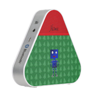 Personalized name blue robot green trees speaker