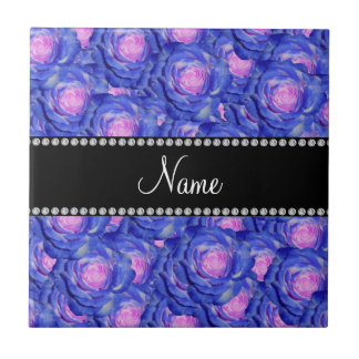 Personalized name Blue roses Tile