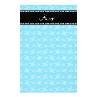 Personalized name blue skulls pattern customized stationery