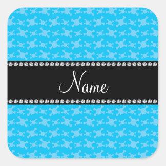 Personalized name blue skulls pattern square sticker