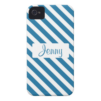 Personalized name blue stripe iPhone 4 Case-Mate cases