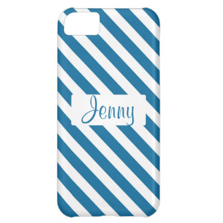 Personalized name blue stripe cover for iPhone 5C
