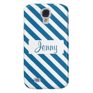 Personalized name blue stripe galaxy s4 cover