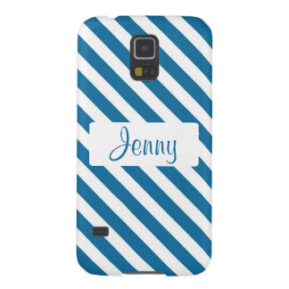 Personalized name blue stripe galaxy s5 case